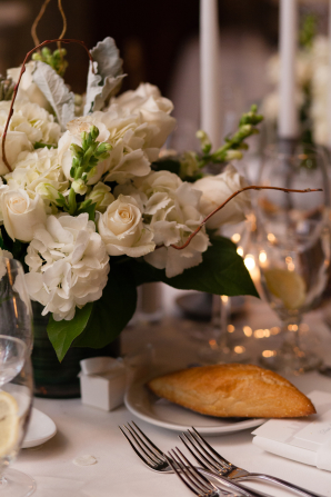 Ivory Centerpiece with Green Stock