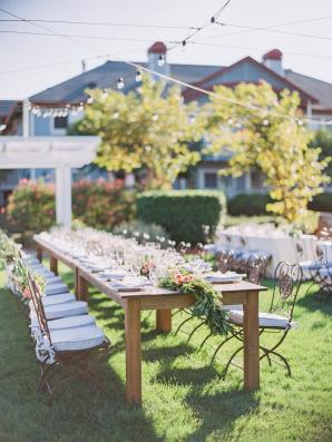 Long Wooden Estate Tables at Garden Wedding