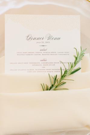 Menu Tucked in Wedding Napkin