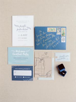 Navy and Khaki Wedding Invitations