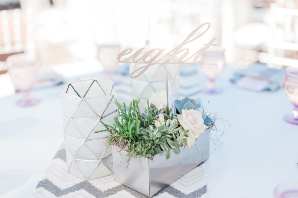 Pale Blue and Silver Wedding Centerpiece
