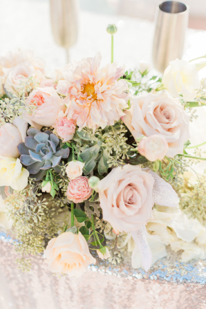 Peach and Succulent Wedding Flowers