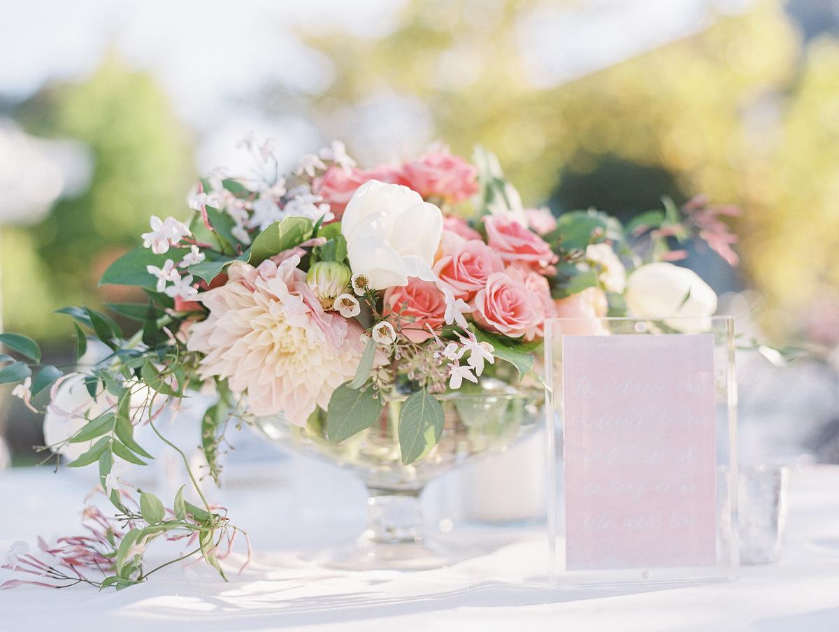Pink and green garden wedding centerpiece elizabeth anne
