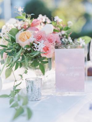 Pink and Peach Garden Wedding Centerpiece