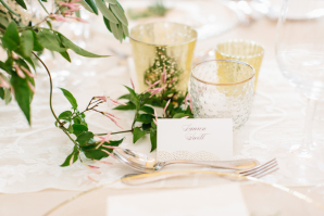 Place Setting with Mercury Glass Votives