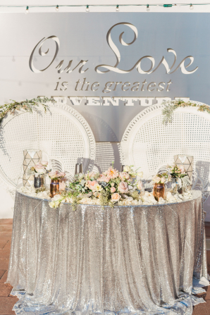 Silver Sequin Sweetheart Table