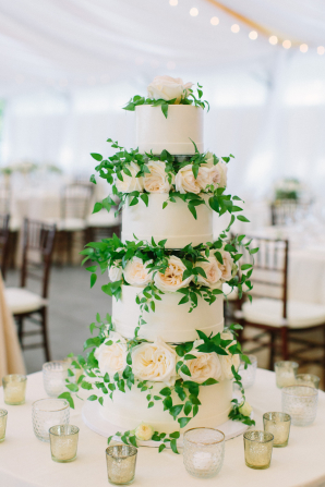 Tiered Wedding Cake with Blush Roses