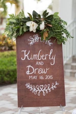 Wood Wedding Sign with Magnolia
