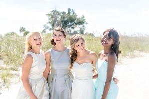 Aqua and Gray Bridesmaids Dresses