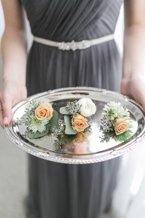 Boutonnieres on Silver Tray