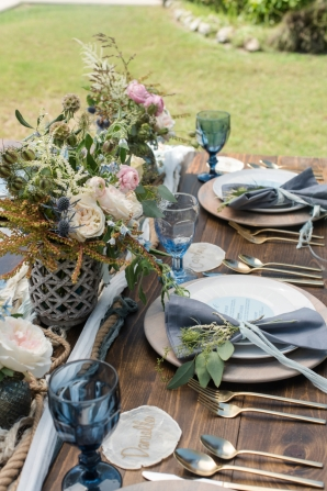 Ocean Blue and Sand Wedding Table