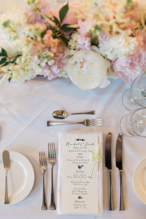 Pink and Ivory Flowers with Wedding Menu