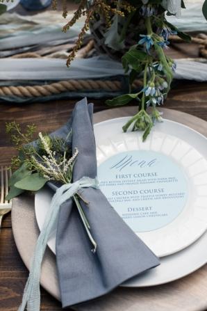 Ribbon Tied Wedding Napkin