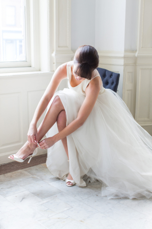 Amsale Gown with Tulle Skirt
