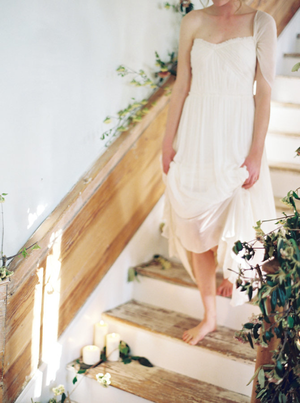 Barefoot Bride on Staircase