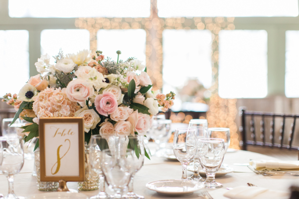Blush and Gold Centerpiece