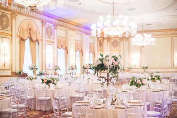 Blusha nd White Ballroom Wedding