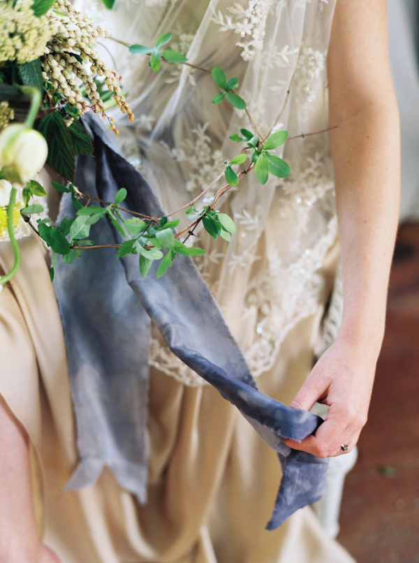 Bouquet with Slate Blue Ribbon