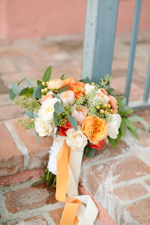 Bridal Bouquet with Peach Ribbons