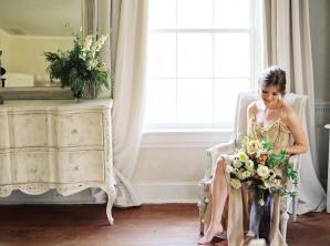 Bride Getting Ready in Silk Slip