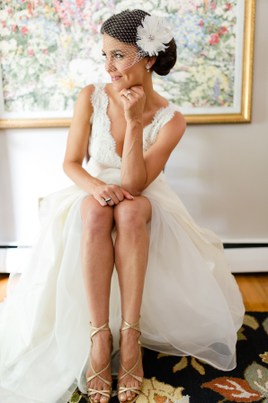Bride in Champagne Shoes