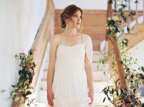 Bride in Chiffon Gown
