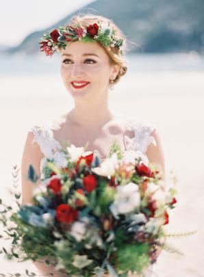 Bride in Red Flower Crown