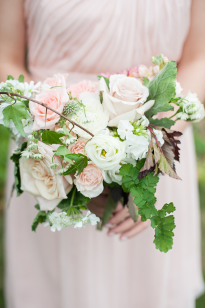 Bridesmaid with Ivory and Blush Bouquet