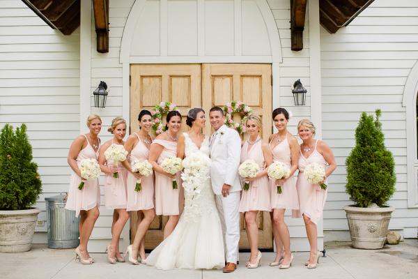 Bridesmaids in Joanna August Dresses