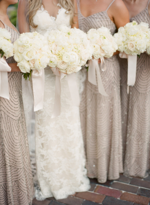Bridesmaids in Lavender Beaded Dresses