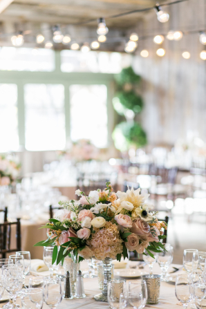 Centerpiece with Pink and Ivory Flowers