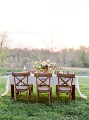 Elegant Coral and Brown Wedding Table