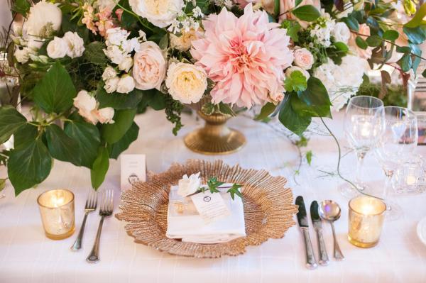 Elegant Dahlia and Rose Centerpiece