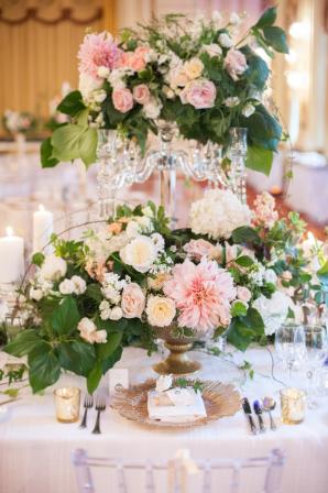 Elegant Dahlia and Rose Centerpieces