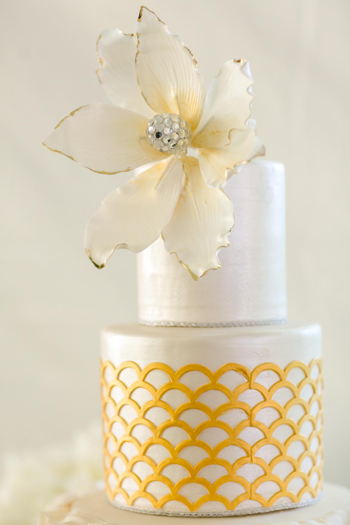Gold and White Wedding Cake - Elizabeth Anne Designs: The Wedding Blog