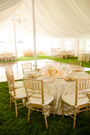 Gold and White Wedding in Tent