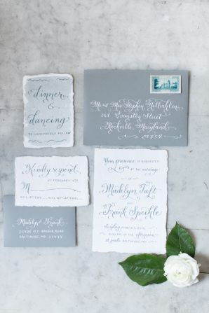 Gray and Blue Wedding Stationery