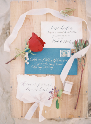 Gray and Slate Blue Wedding Invitations