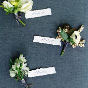 Green and Ivory Boutonnieres