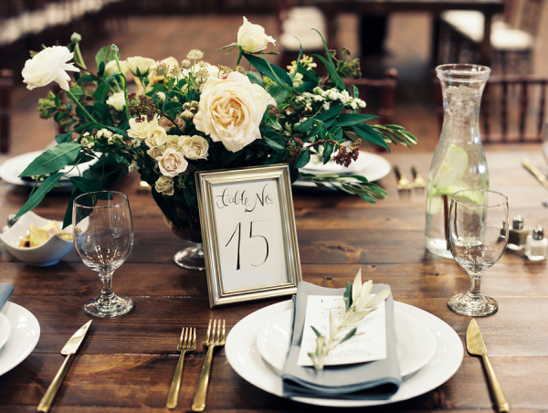 Green and Ivory Rustic Wedding Centerpiece