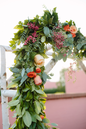 Greenery and Rose Wedding Arch