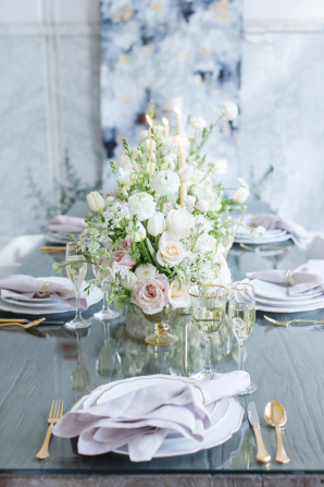Ivory Gray and Lavender Wedding Table