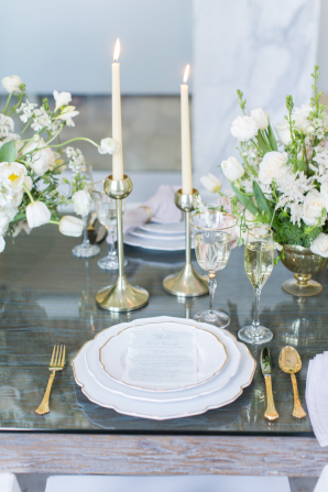 Ivory and Gold Modern Wedding Table