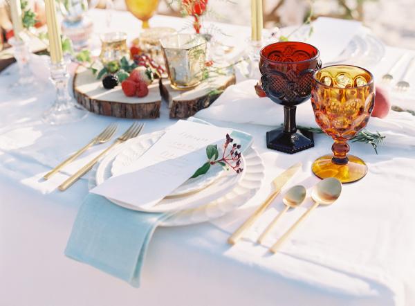 Jewel Tone Wedding Table on Beach