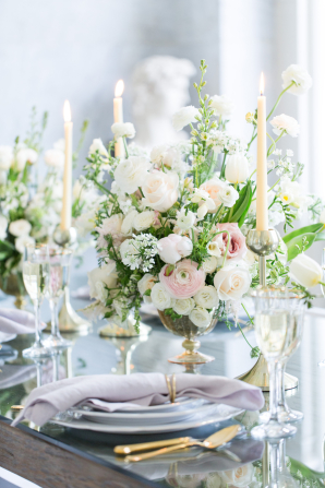 Lavender Blush and Ivory Centerpiece