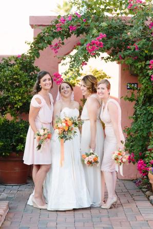 Matching Peach Bridesmaids Dresses