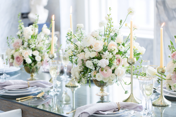 Modern Ivory and Lavender Wedding Table