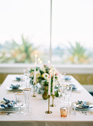 Pale Blue and Gold Wedding Centerpiece