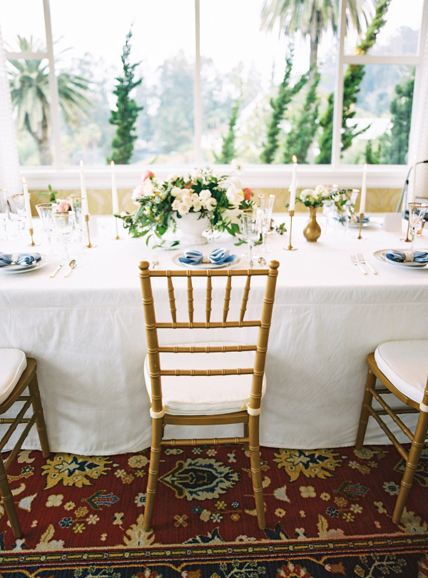 Pale Blue and Gold Wedding Table
