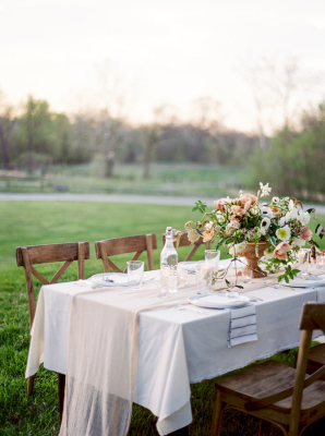 Pale Brown and Coral Wedding Table